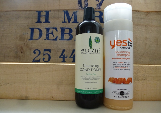 My current hair care products: Yes to Carrots Shampoo and Sukin Nourishing Conditioner.