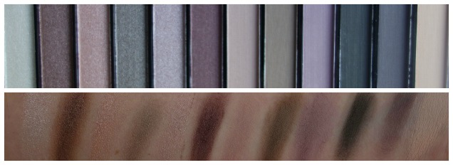 Makeup Revolution Romantic Smoked palette swatches coll
