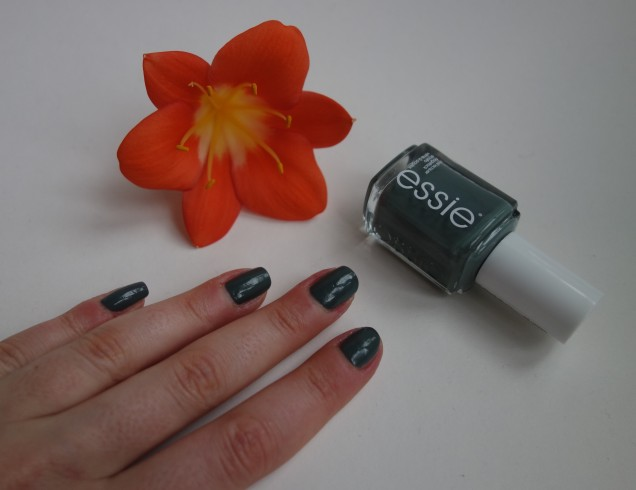 essie fall in line swatch nails grey green