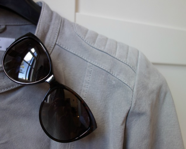 Spring wardrobe update silver leather jacket and invu sunglasses