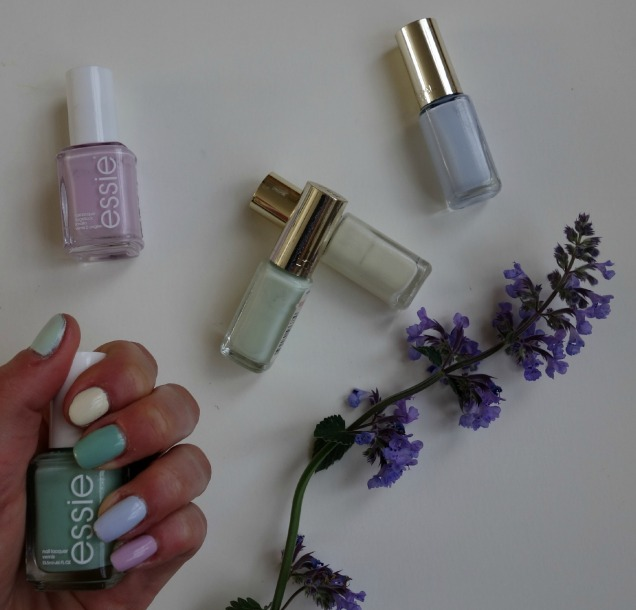 pastel nails with essie and loreal