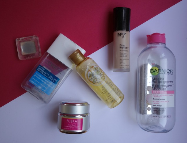 July Empties: loreal, no7, garnier, catrice, body shop.