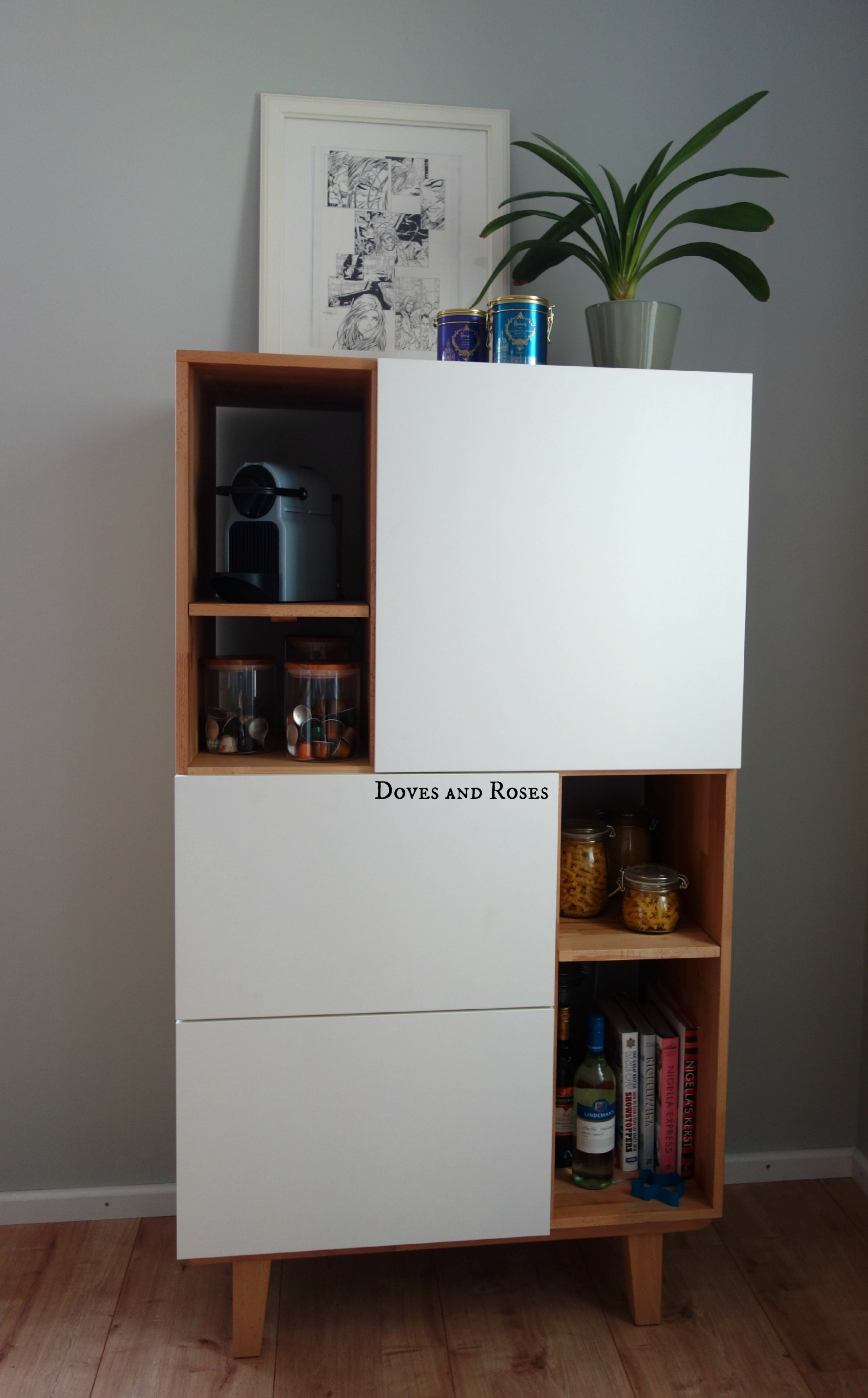 ikea hack danish inspired storage cabinet doves and roses. Black Bedroom Furniture Sets. Home Design Ideas
