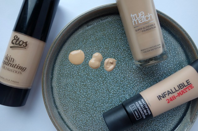 New foundations, Loreal Infallible 24H Matte, True Match and Etos Skin Hydrating Foundation
