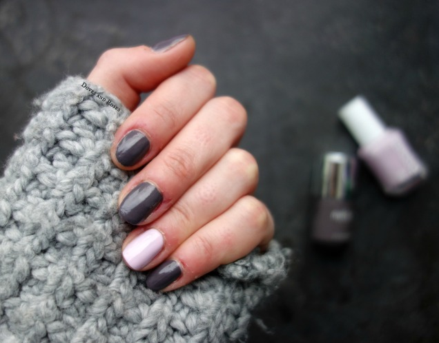 accent nail Nails Inc Gilston Road grey and Essie Go Ginza lilac polish swatches