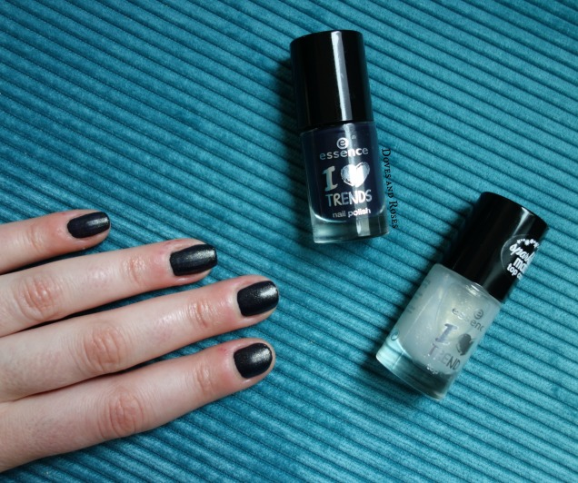 nails of the week essence sparkling matt topcoat and dark blue polish